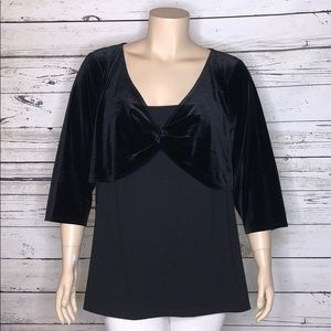 Lane Bryant 26/28 Black Velvet 2fer Blouse Shrug
